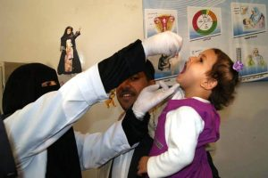 A Yemeni child receives oral polio vaccine during the November vaccination round. WHO