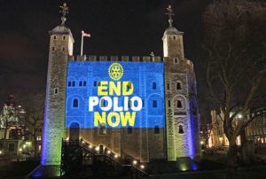 The Tower of London in England, is illuminated with an End Polio Now message. Rotary International