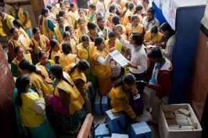 Polio vaccination teams pick up supplies at a railway station in the state of Bihar in northern India.