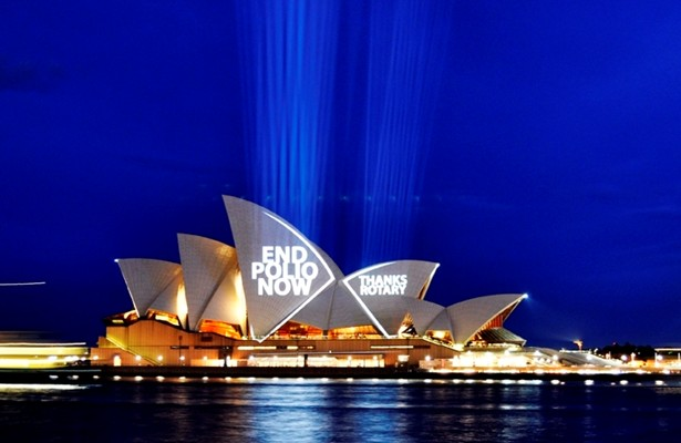 "The ""End Polio Now"" message is beamed on to the Sydney Opera House, Australia Mark Wallace/Rotary Down Under"
