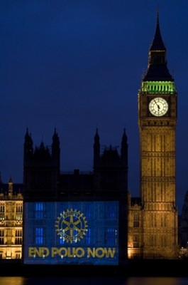 "The Rotary wheel logo and the ""End Polio Now"" message is beamed onto the Houses of Parliament, UK Rich Hendry, courtesy of Rotary International"