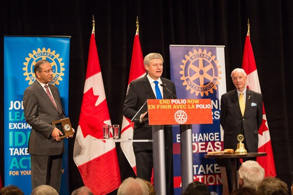 Stephen Harper commits to continuing to work with partners to put an end to this devastating disease.