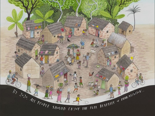 Sophie Blackall's illustration brings to life the 20 million children who live in remote locations who are still missed in vaccination campaigns.