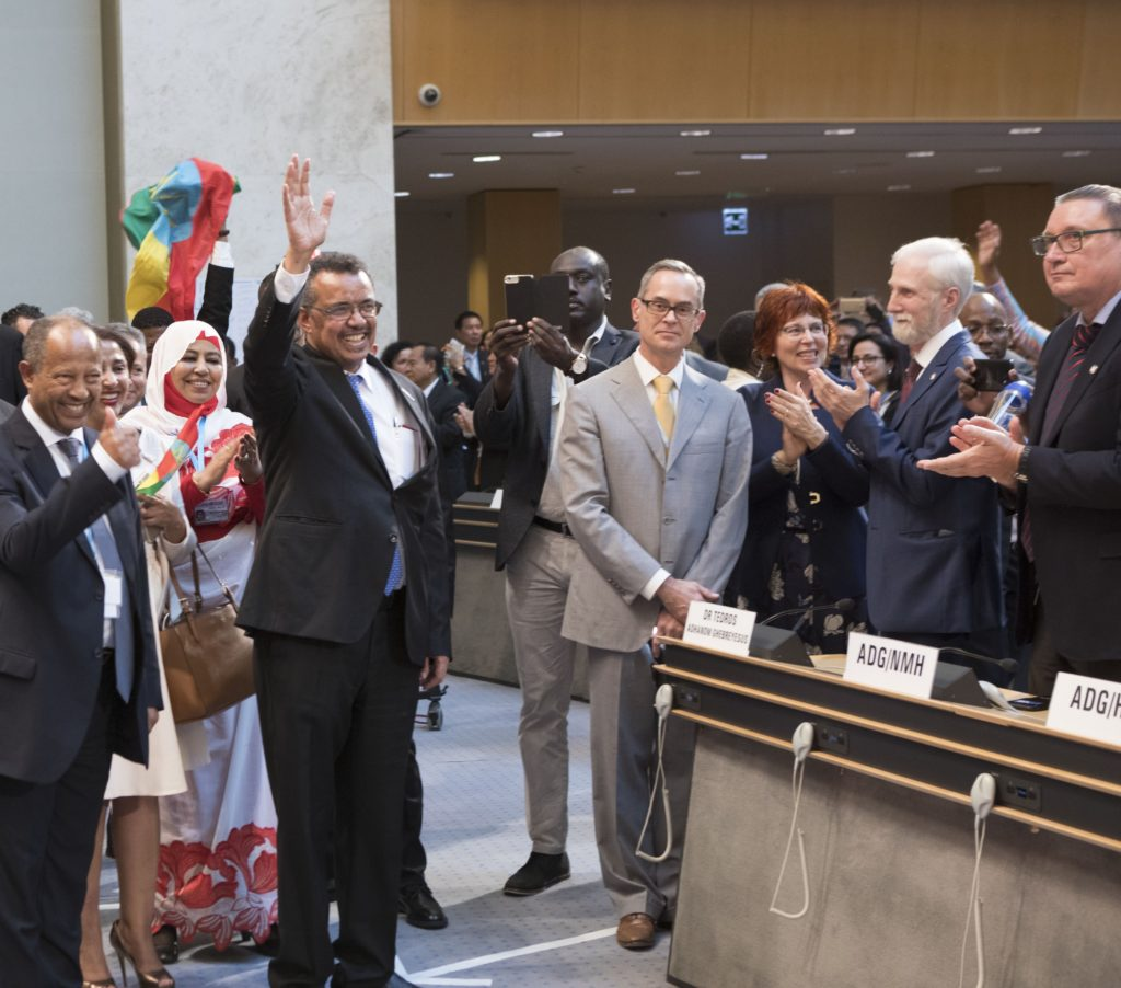 Dr Tedros Adhanom Ghebreyesus waving at the Assembly Hall, after he was elected as the next WHO Director-General.