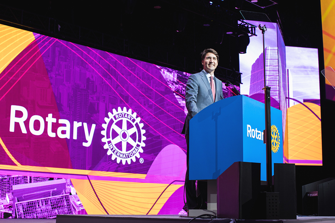 Justin Trudeau, prime minister of Canada, speaks to Rotarians. Rotary has been the driving force behind polio eradication from the beginning. © Rotary International/Alyce Henson