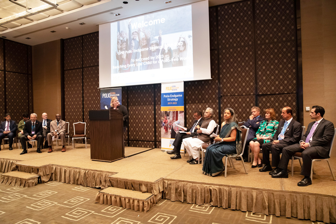 "Dr Rebecca Martin, Centers for Disease Control and Prevention, delivering the welcome address at the event ""To succeed by 2023—Reaching Every Last Child for a Polio-free World"" to celebrate the launch of the Polio Endgame Strategy 2019-2023. ©WHO."