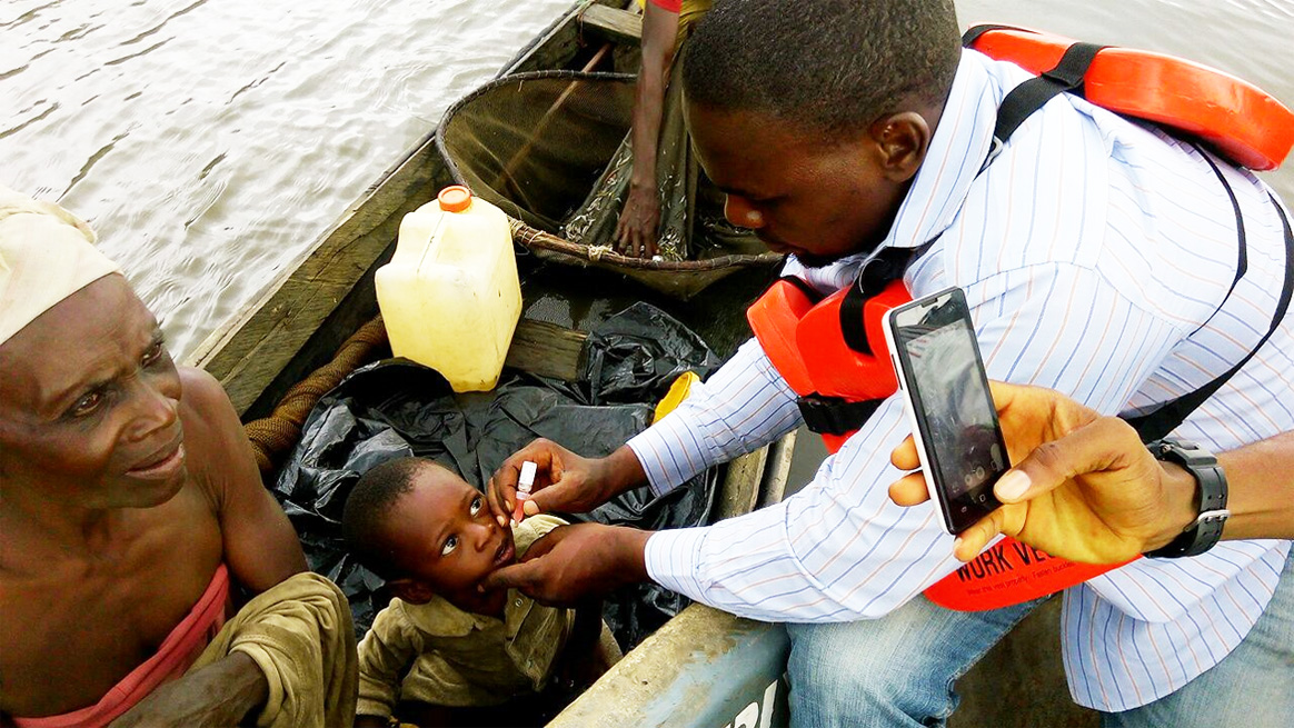 A young child receiving polio vaccination. ©WHO/Nigeria