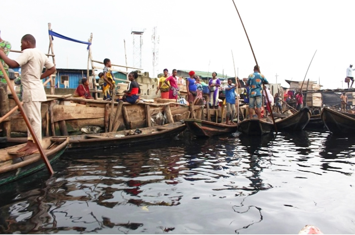 Makoko is a floating water world on the coast of Lagos, Nigeria. Photo: © UNICEF/Peter Idowu