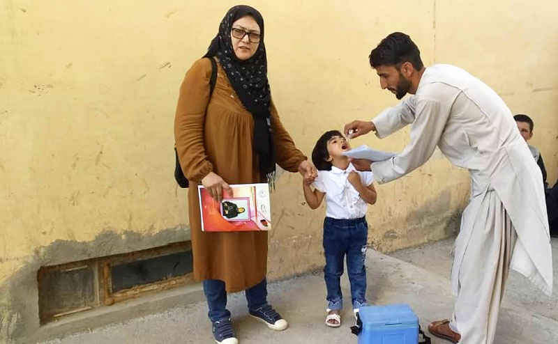 Dr Fariba, provincial polio officer, checking up on the polio vaccination activities. © WHO Afghanistan.