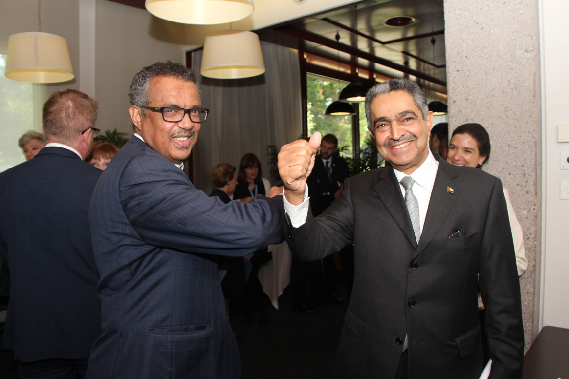 WHO-DG and Chair of the GPEI Polio Oversight Board, Dr Tedros Adhanom Ghebreyesus, sharing a candid moment with His Excellency Obaid Saleem Saeed Al Zaabi, UAE Permanent Representative to the United Nations (UN). ©WHO